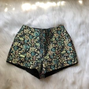 anthropologie metallic floral shorts